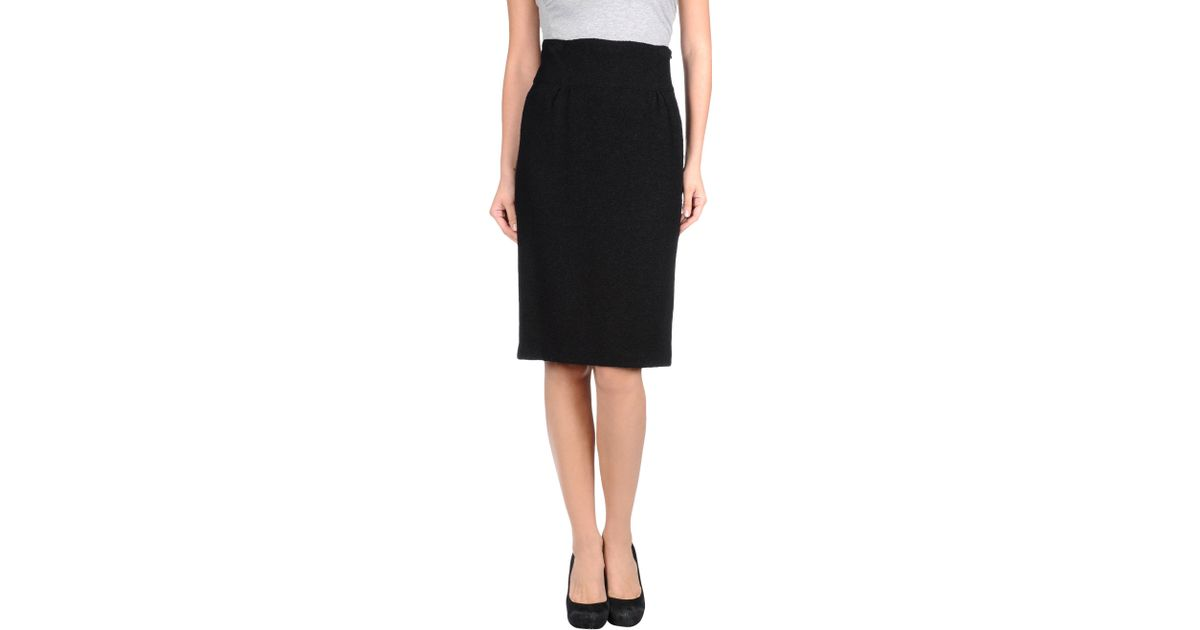 moschino knee length skirt in black save 65 lyst