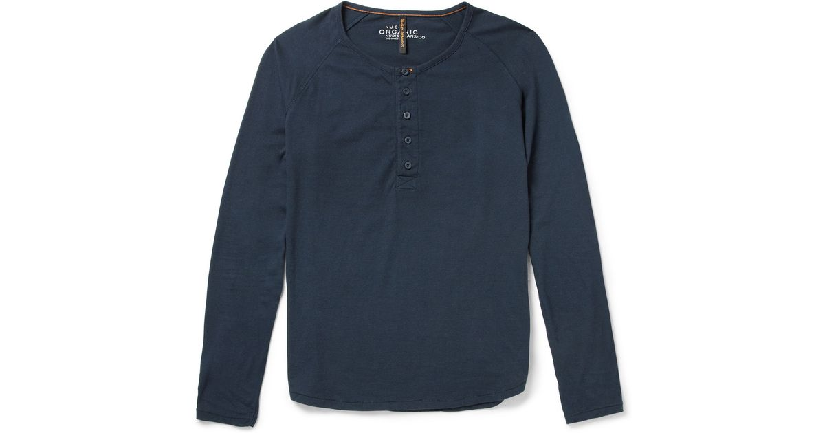 92431d7d Nudie Jeans Fairtrade Organic Cottonjersey Henley Tshirt in Blue for Men -  Lyst