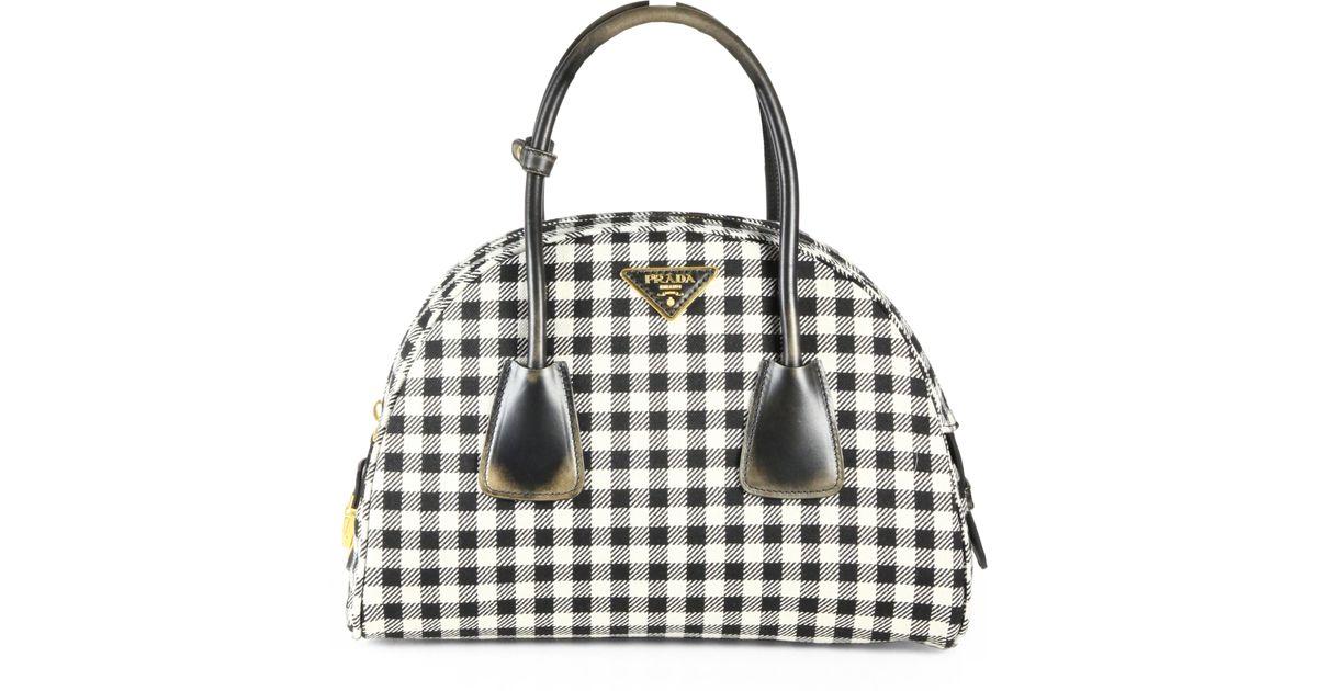 2b2825f8be4b Lyst - Prada Jacquard Check Small Bowler Bag in Black