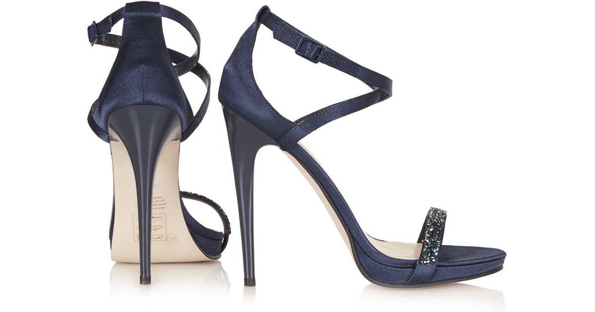 41c2ce3ca6 TOPSHOP Razzle Glitter Sandals in Blue - Lyst