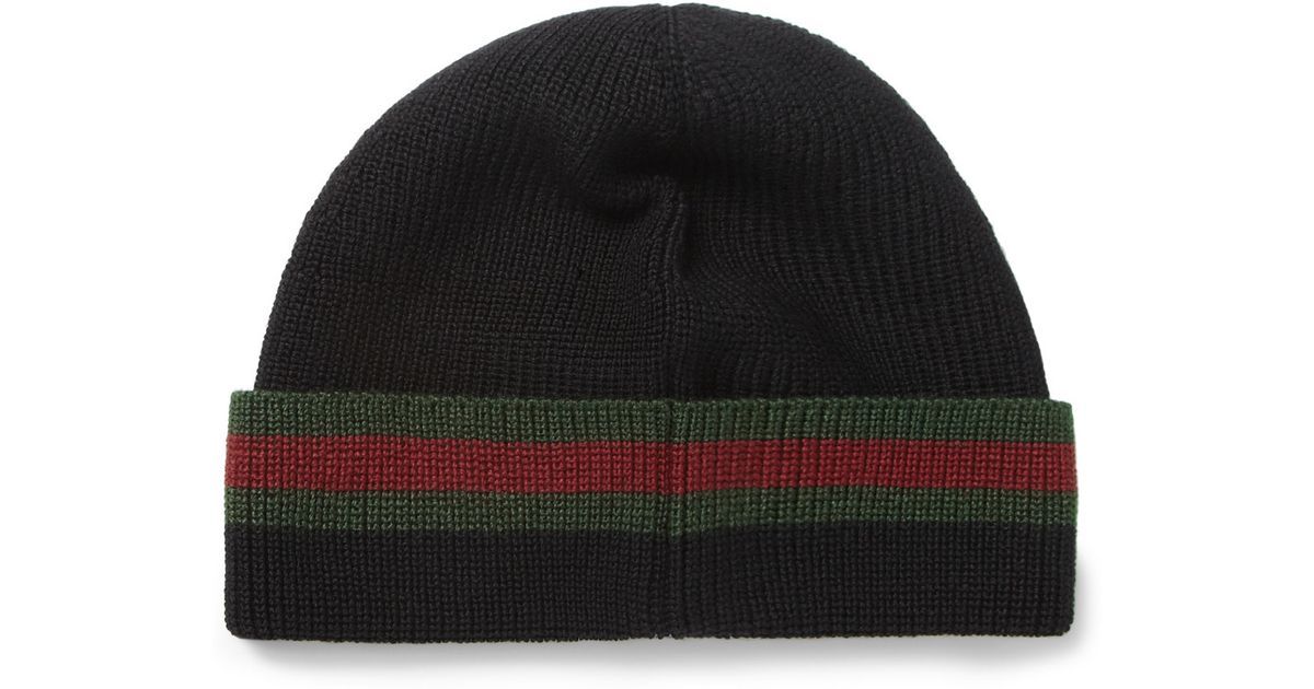 Lyst - Gucci Wool and Silkblend Beanie Hat in Black for Men 22162a1d788