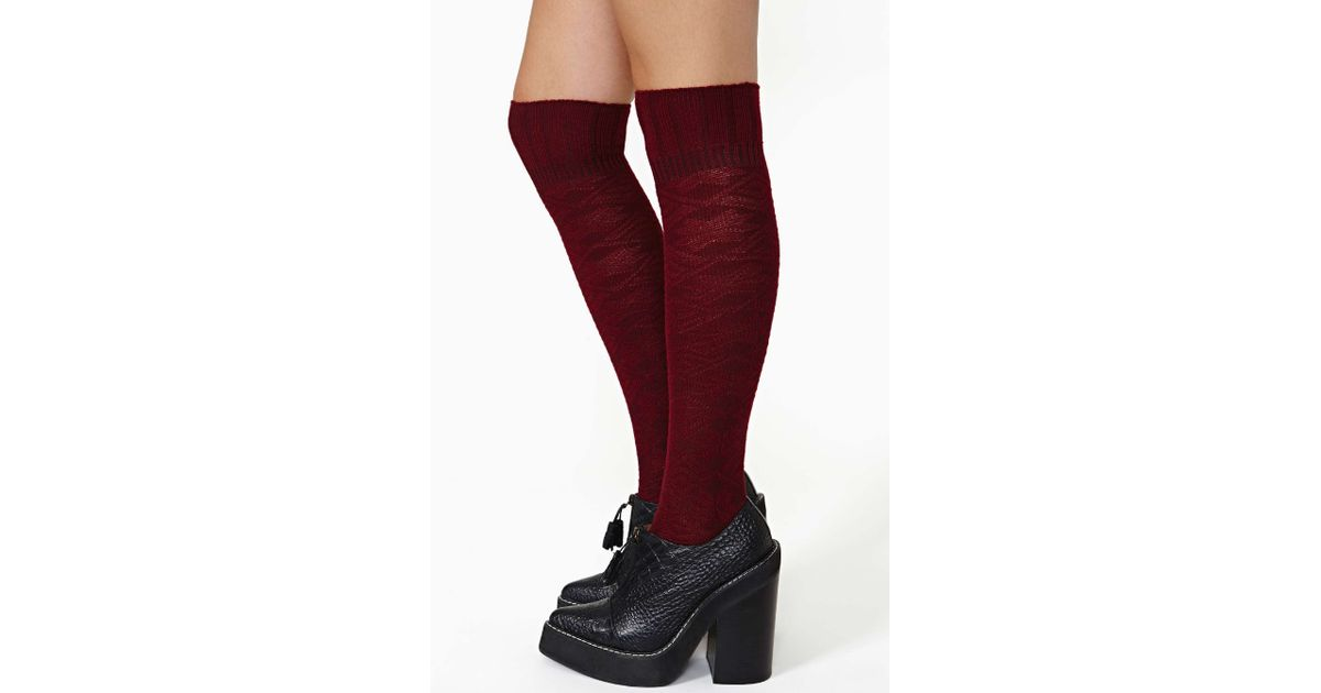 660869d5c05 Nasty Gal Miss Popular Knee High Socks Wine in Red - Lyst