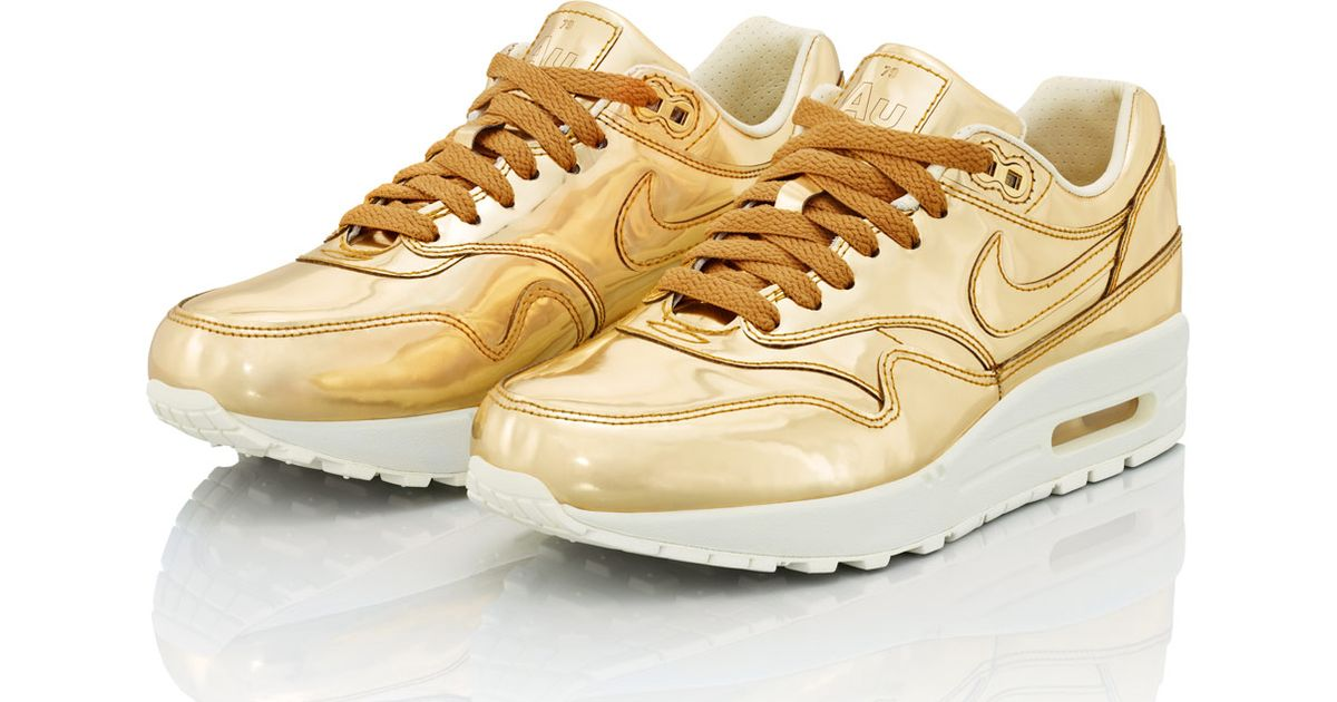 fc2e35957b99d Nike Gold Air Max 1 Trainers in Metallic for Men - Lyst