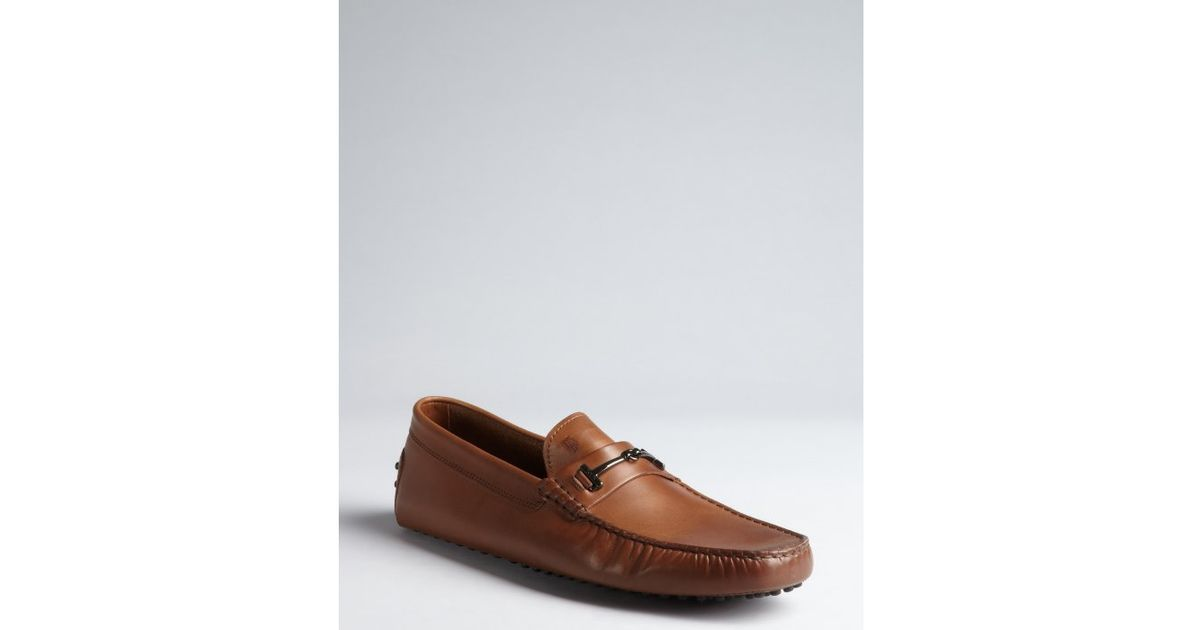 91815103f04 Lyst - Tod S Leather New Gommani Horsebit Driving Loafers in Brown for Men