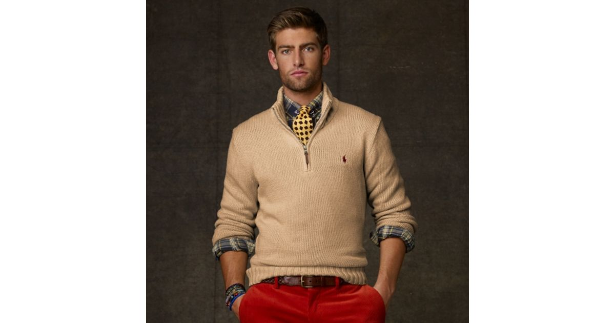 Polo ralph lauren Half zip Cotton Sweater in Beige for Men (Brown) | Lyst