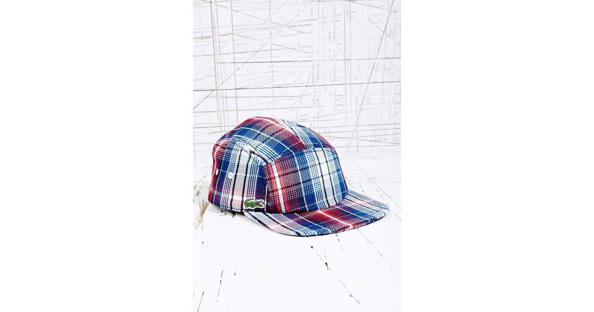 31d5cf56d8a Lacoste Lacoste 5 Panel Cap in Check Print in Blue for Men - Lyst