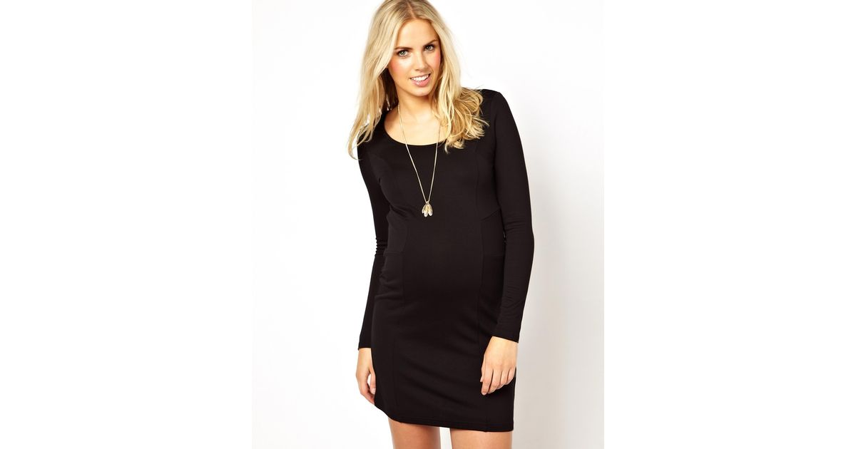 dddd3831 Lyst - ASOS Mamalicious Long Sleeve Jersey Dress in Black