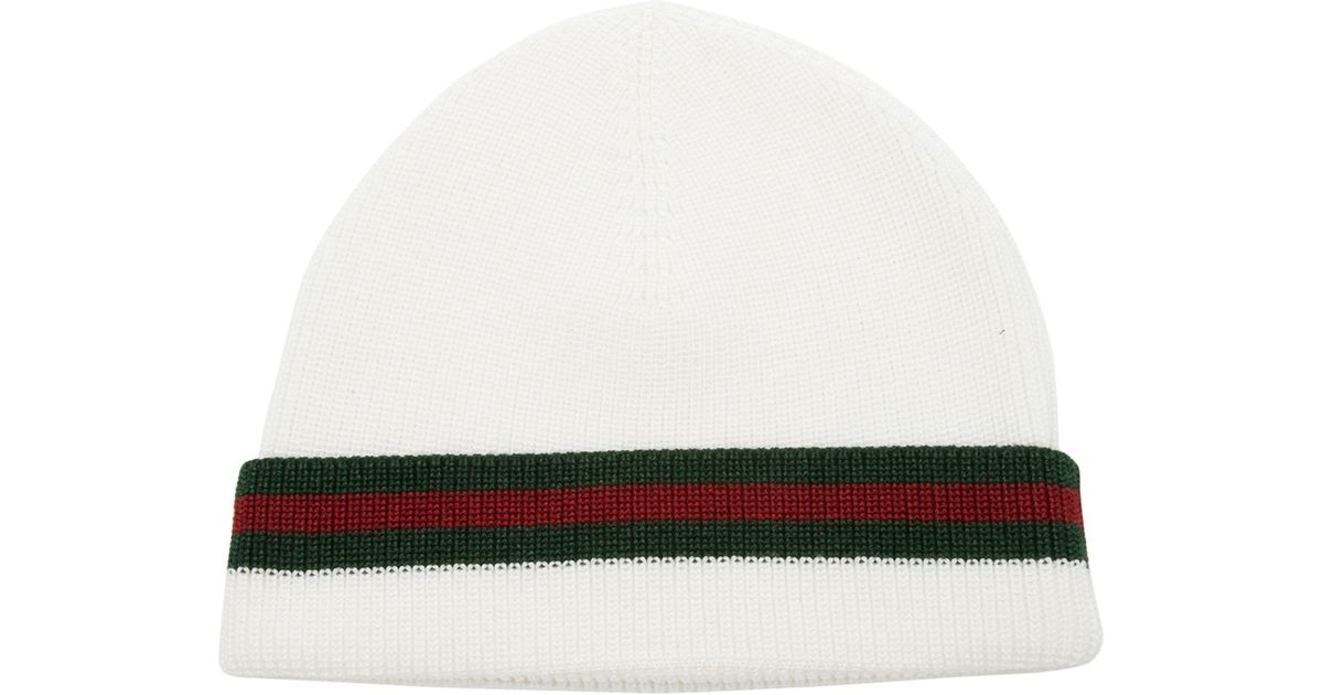 d54a9ccd34cb Lyst - Gucci Knit Hat in White for Men