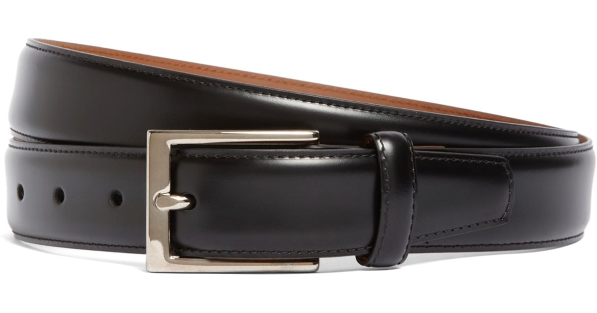 brothers silver buckle leather dress belt in black