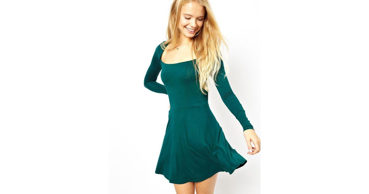 07501425fc Lyst - ASOS Square Neck Skater Dress in Green