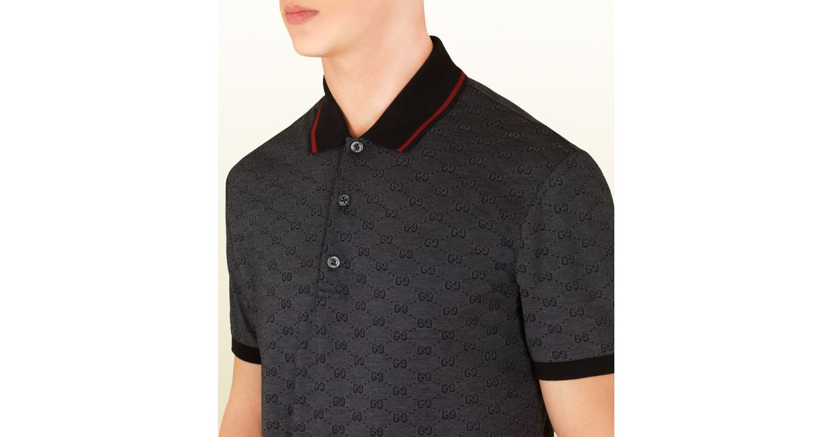 4d64ccc7 Gucci Dark Grey Pique Gg Jacquard Short Sleeve Polo in Gray for Men - Lyst