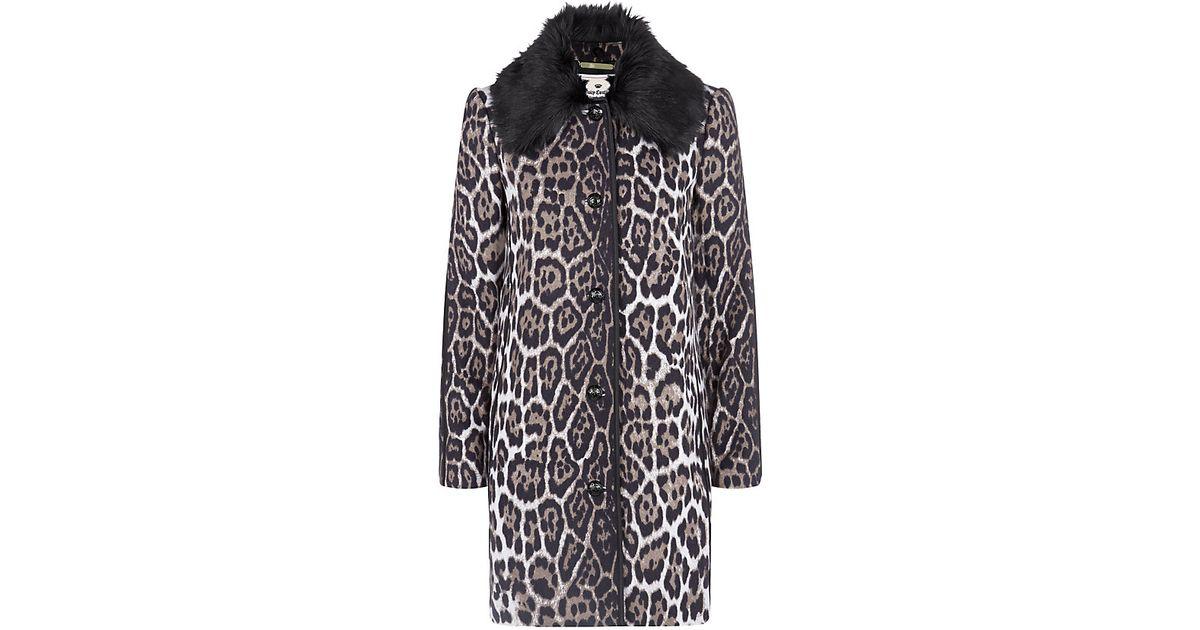 f7b281a004fa Juicy Couture Leopard Print Coat - Lyst