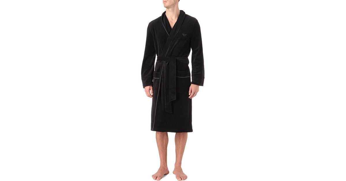 Armani Plain Velour Dressing Gown In Black For Men Lyst