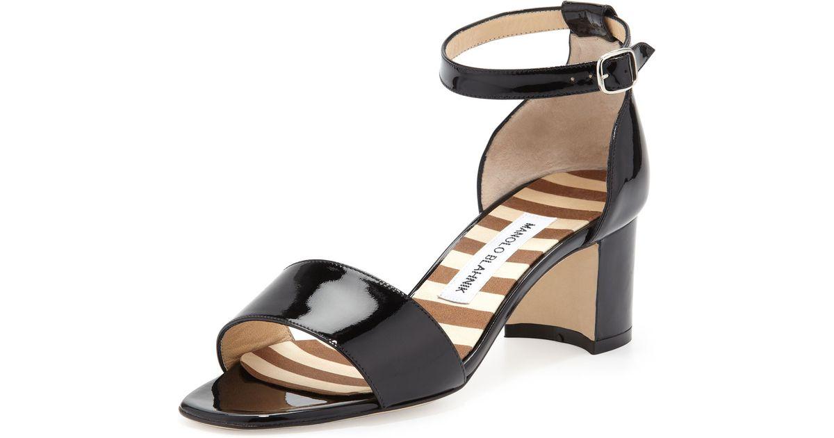 b09674ed8dd Lyst - Manolo Blahnik Lauratomod Block-Heel Ankle-Strap Sandal in Black