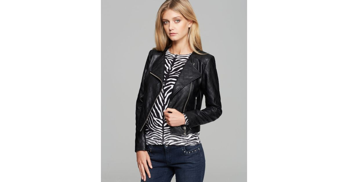 640f1dd5 MICHAEL Michael Kors Faux Leather Quilted Moto Jacket in Black - Lyst