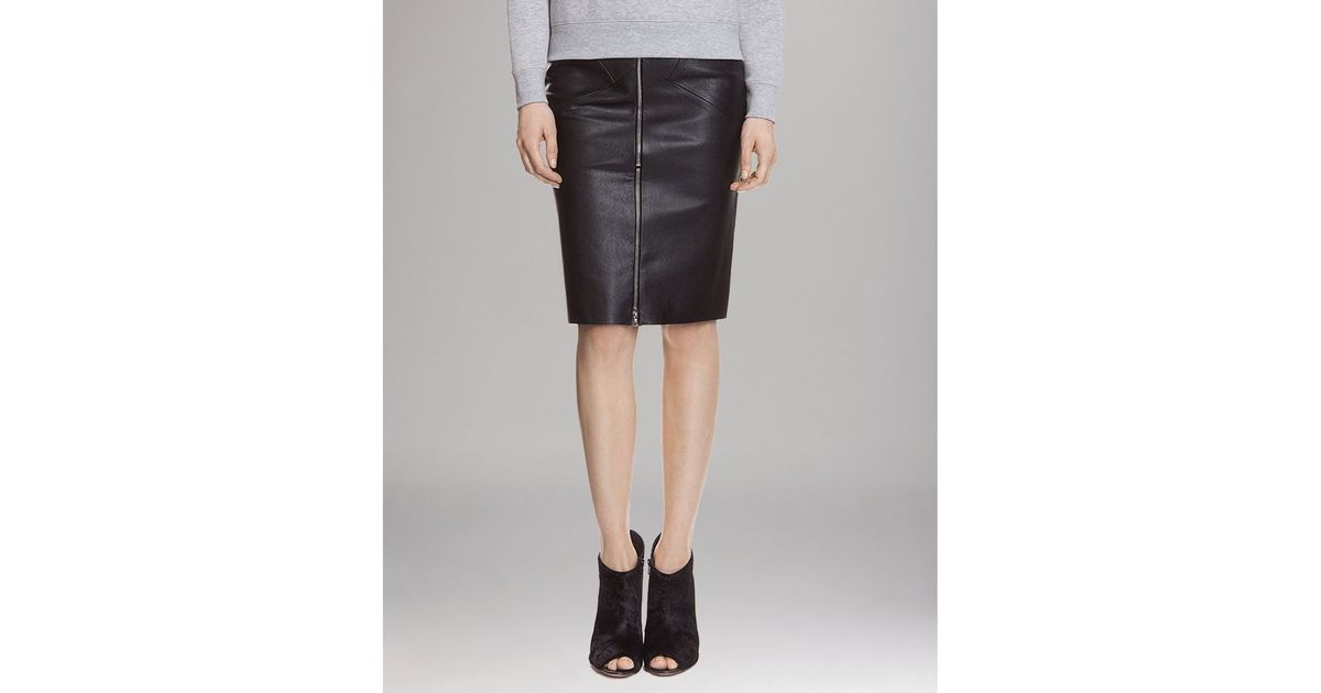 sandro leather skirt zip front pencil in black lyst