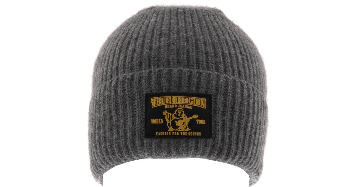 7098215c813 Lyst - True Religion Ribbed Beanie Hat Heather in Gray for Men