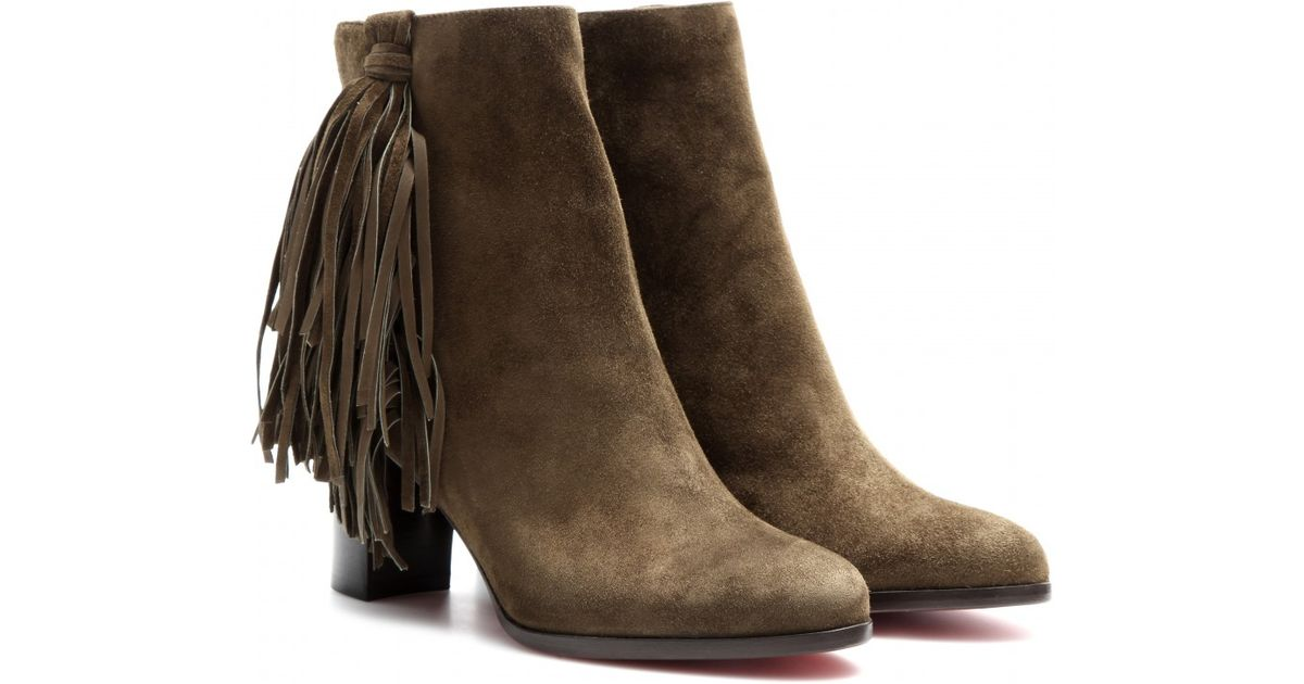 replica red bottom shoes for men - christian louboutin fringe-trimmed leather ankle boots, spiked ...