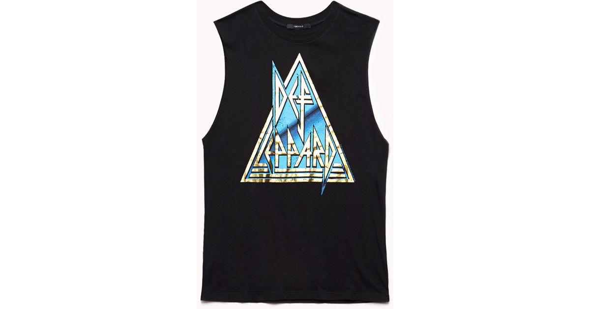 ea74e6f5 Forever 21 Def Leppard Muscle Tee in Black - Lyst