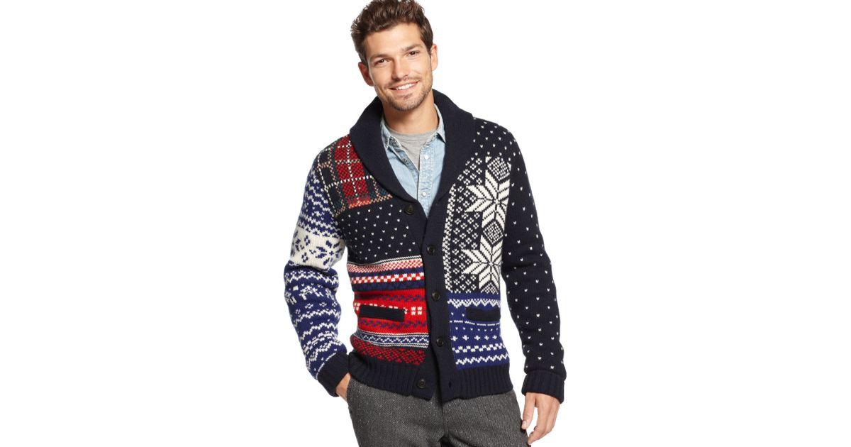 Tommy hilfiger Pelham Fair Isle Shawl Collar Sweater for Men | Lyst