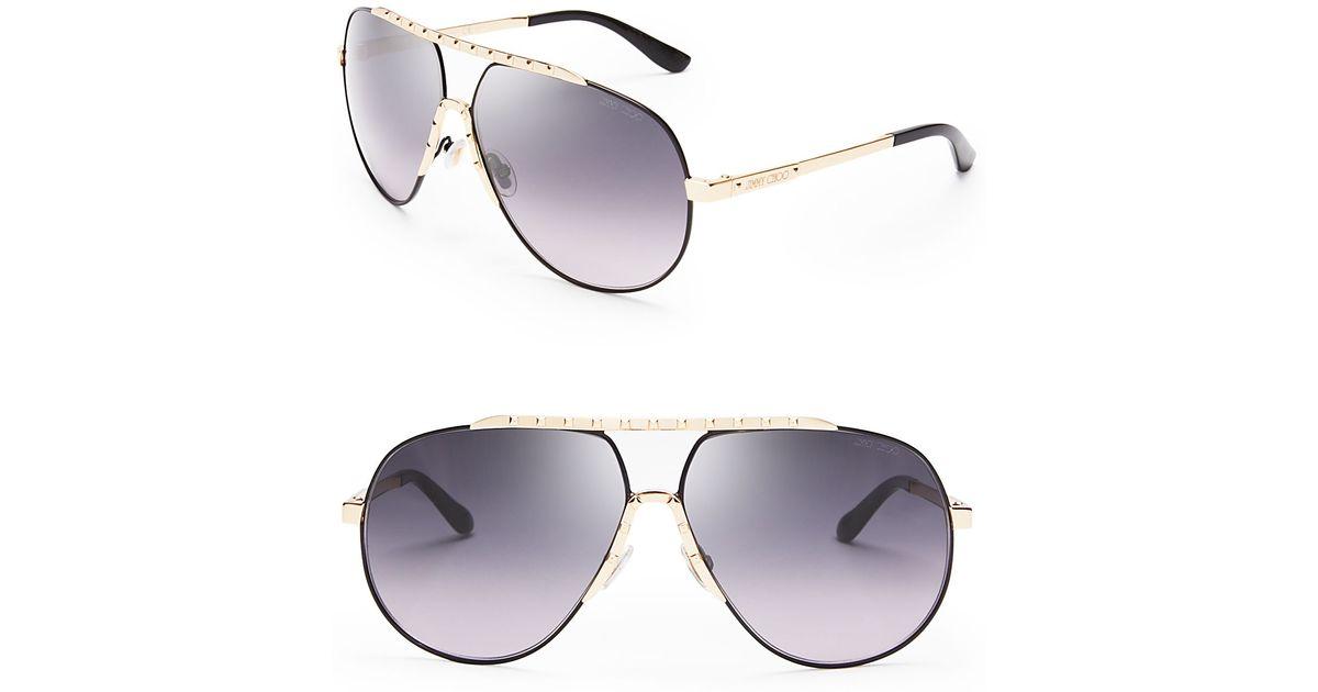 12cef6f632b Lyst - Jimmy Choo Benny Aviator Sunglasses in Black