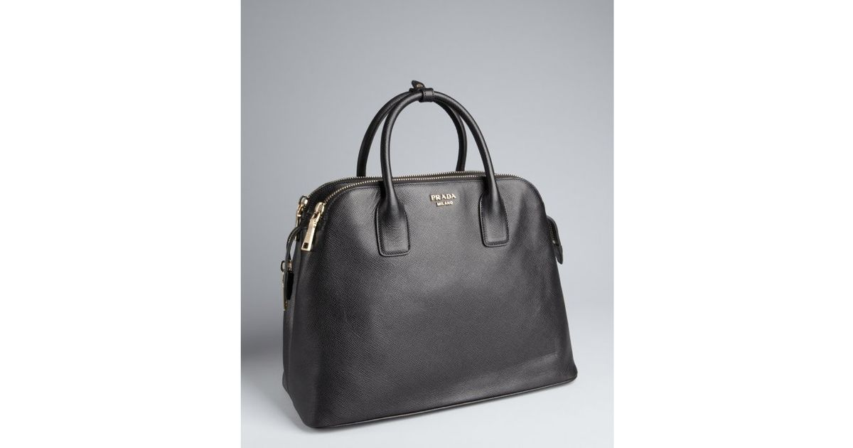 Lyst - Prada Black Saffiano Leather Dual Zip Top Large Tote in Black 11f43b631eed6