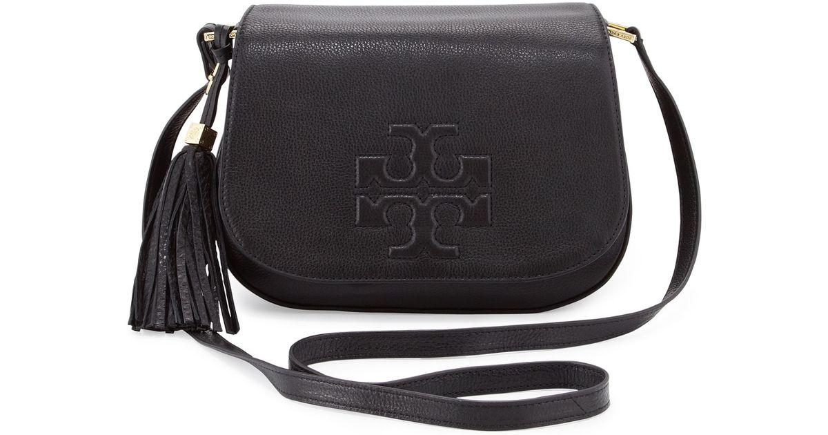 e268c0a9a5c Lyst - Tory Burch Thea Crossbody Saddle Bag Black in Black