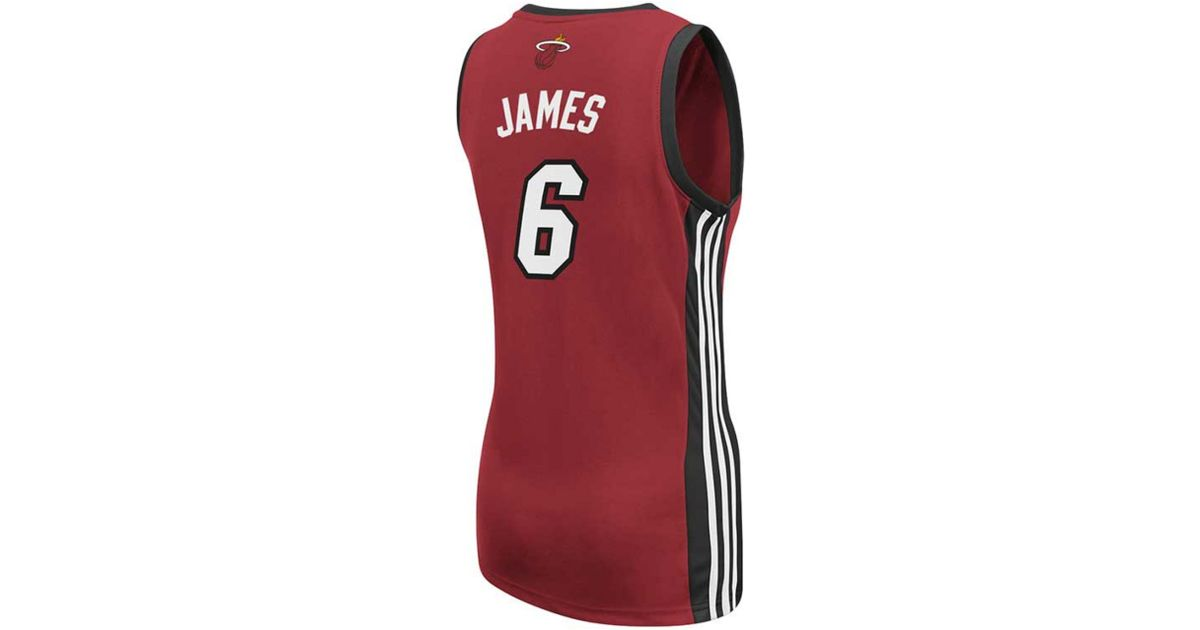 new product 857fd 5e167 Adidas - Red Womens Miami Heat Lebron James Jersey Top - Lyst