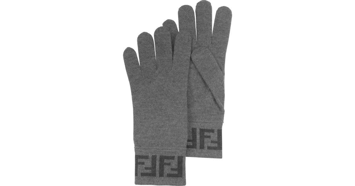 d3617337b008 Lyst - Fendi Gray Zucca Logo Wool Mens Gloves in Gray for Men