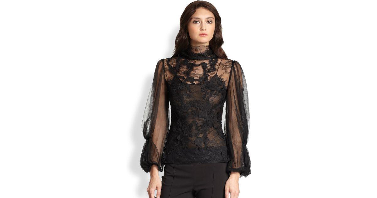 Oscar de la renta Longsleeve Lace Blouse in Black | Lyst