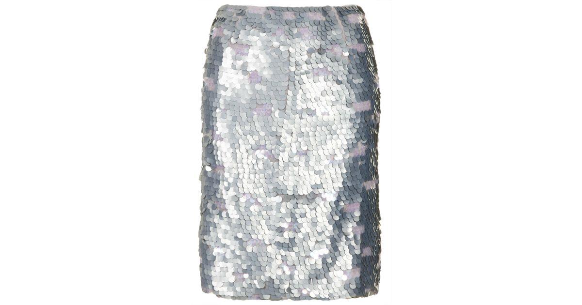 1963969c7bae TOPSHOP Silver Sequin Pencil Skirt in Metallic - Lyst
