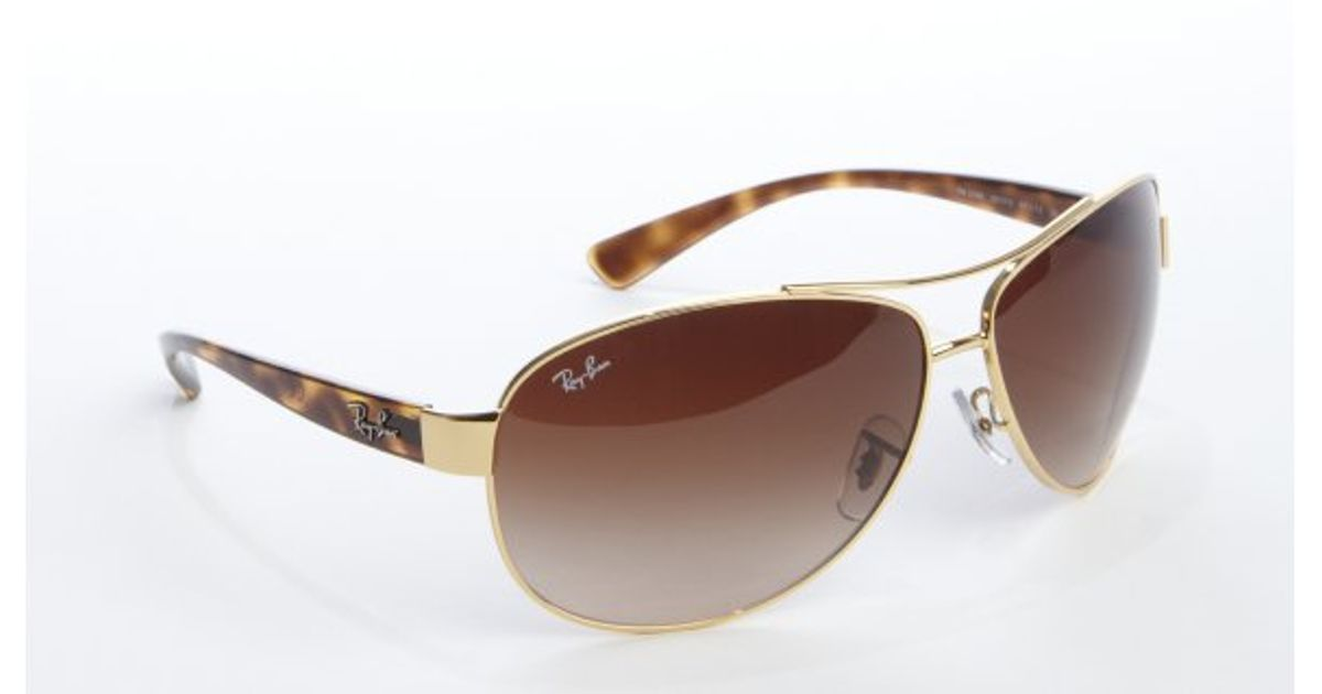 a5575f308d ... czech lyst ray ban brown havana acrylic and gold metal wrap aviator  sunglasses in metallic for