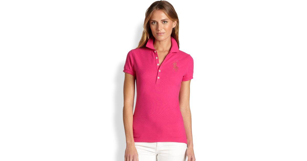 8bacc392 Ralph Lauren Blue Label Crystal Big Pony Polo Shirt in Green - Lyst