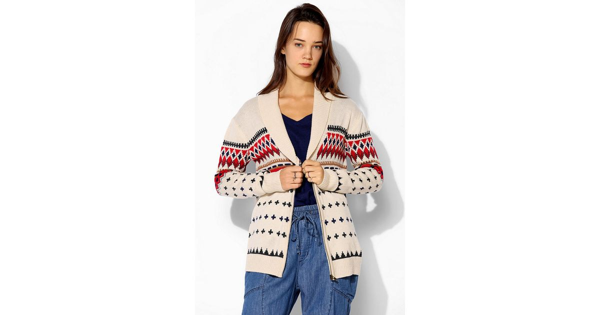 Urban outfitters Love Madly Fair Isle Cardigan in Natural | Lyst