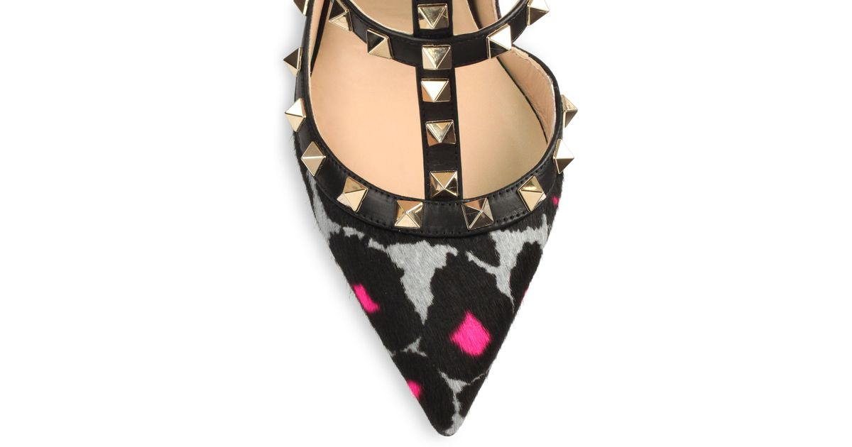 1f9485fcbb5 Lyst - Valentino Rockstud Leopardprint Calf Hair Slingback Pumps in Black