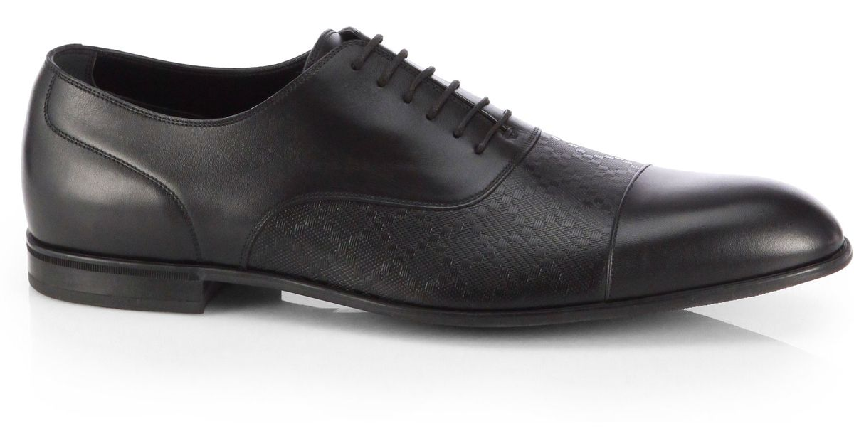 434979cbe Gucci Diamante Leather Lace-up Shoes in Black for Men - Lyst