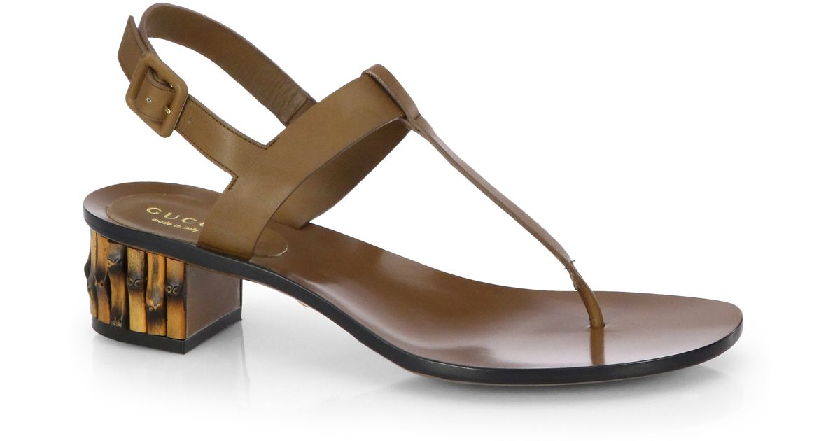 340cd69a1a952 Lyst - Gucci Dahlia Leather Bambooheel Thong Sandals in Brown