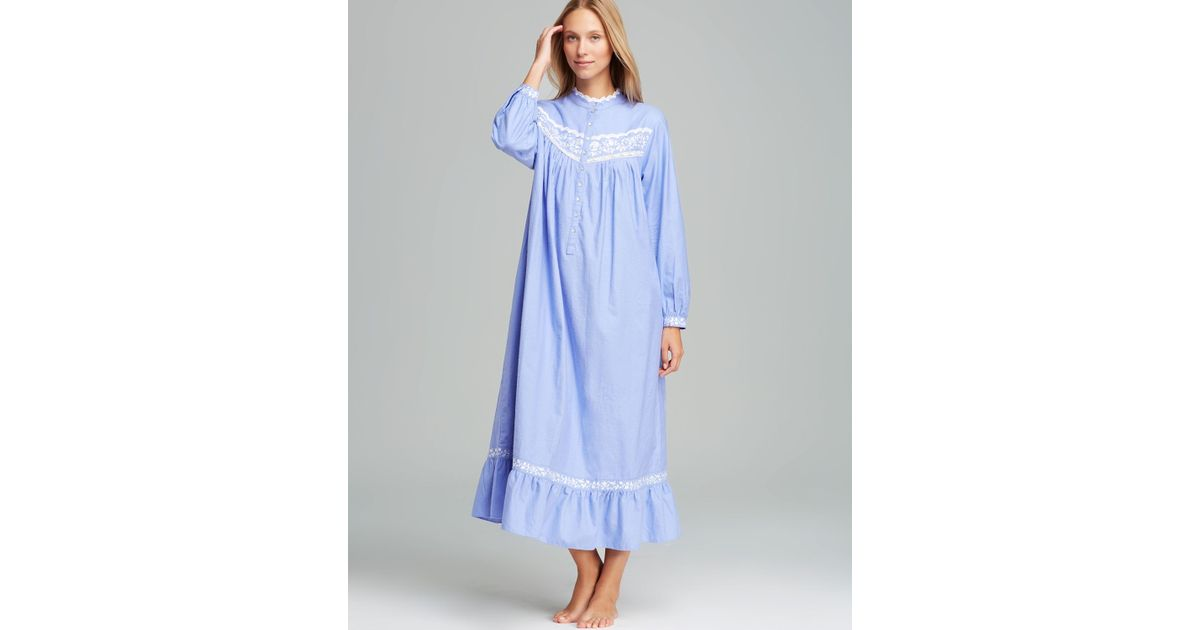 Lyst - Eileen West Romantic Vines Long Sleeve Flannel Ballet Nightgown in  Blue 67d3a7092