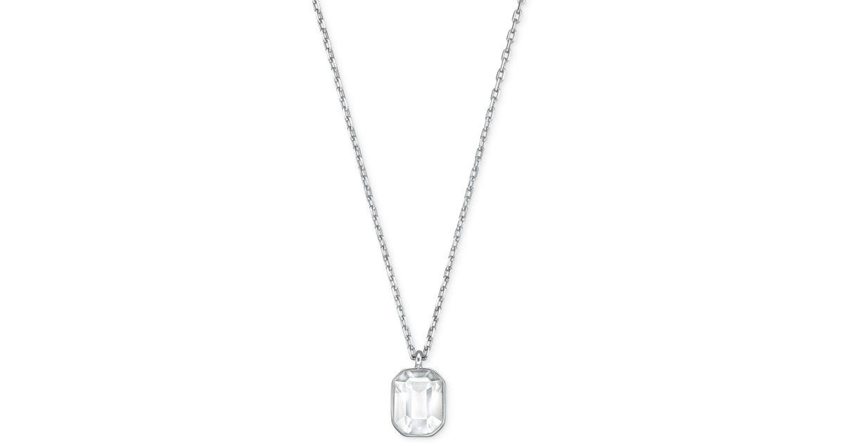 Lyst swarovski rhodiumplated emeraldcut clear crystal pendant lyst swarovski rhodiumplated emeraldcut clear crystal pendant necklace in metallic aloadofball Gallery