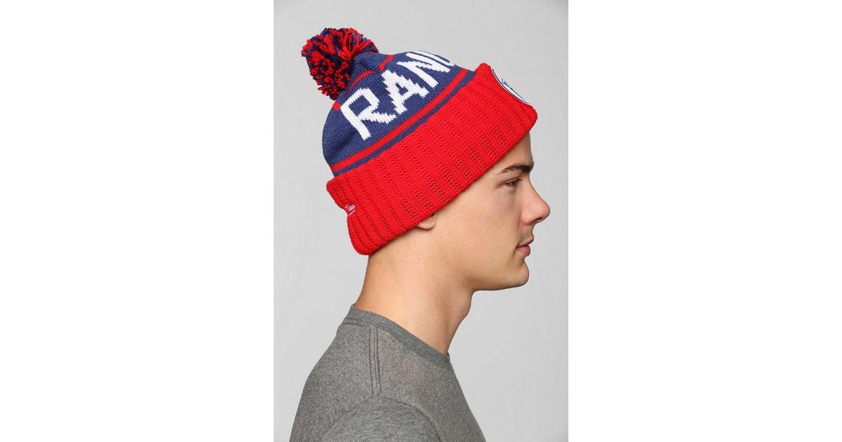 ed998a1ea47 Lyst - Urban Outfitters Mitchell Ness New York Highfive Pom Beanie in Red  for Men