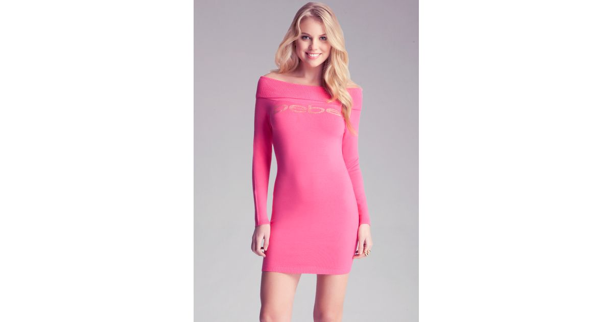 Bebe Off Shoulder Sweater Dress in Pink  Lyst