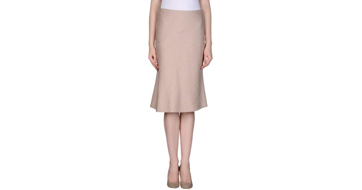 fendi knee length skirt in beige save 75 lyst