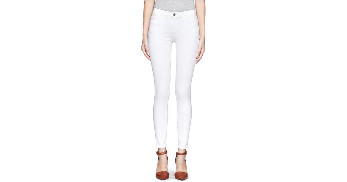 Frame Le Skinny De Jeanne Jeans In White Lyst