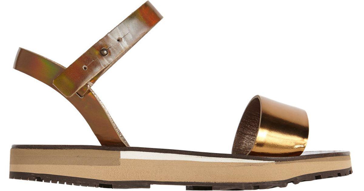39c0a6b884e Lyst - Lanvin Metallic Flatform Sandal in Metallic