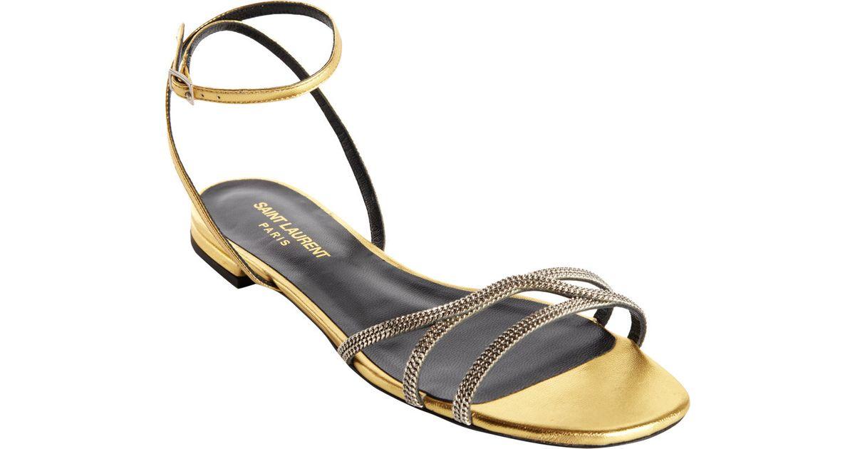 20ca4494146 Lyst - Saint Laurent Jane Flat Sandal in Metallic