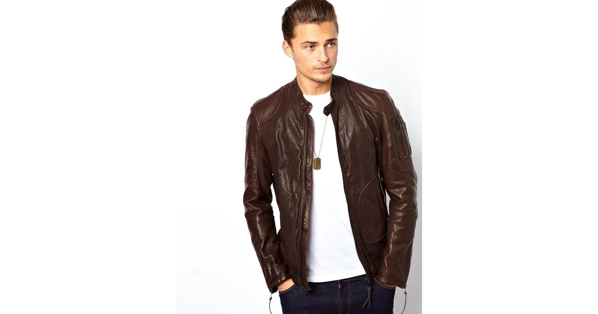 9809732f126e Lyst - ASOS Replay Leather Bomber Jacket in Brown for Men