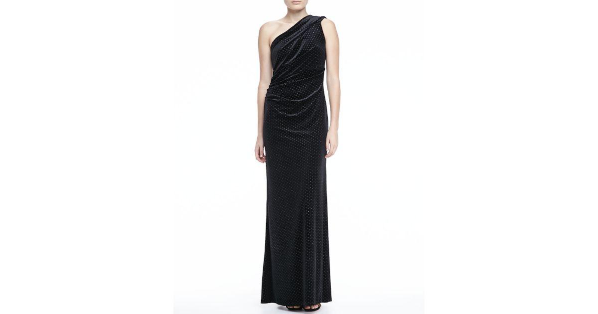 Lyst - David Meister Oneshoulder Shimmery Velvet Gown in Black