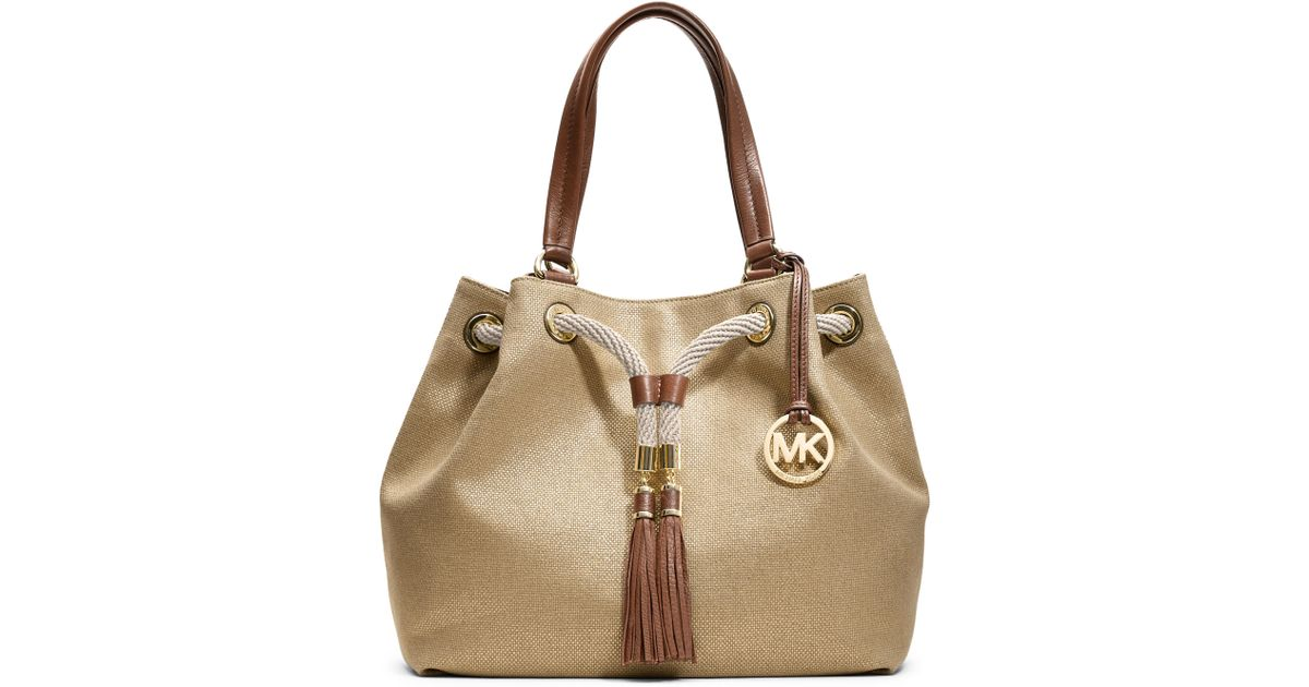d23f45cc6f60 MICHAEL Michael Kors Large Marina Gathered Tote in Natural - Lyst