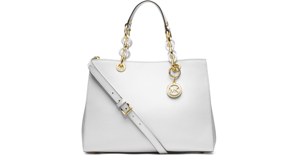 1e970228f25a Lyst - MICHAEL Michael Kors Medium Cynthia Saffiano Satchel in White