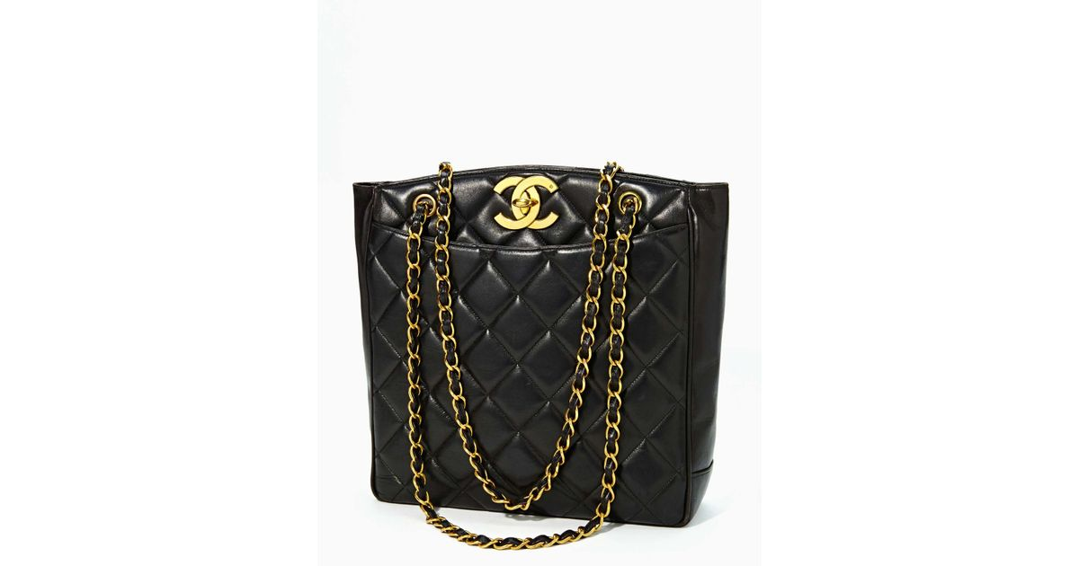 Lyst - Nasty Gal Vintage Quilted Chanel Black Leather Tote Sold Out in Black 18d4f5b765